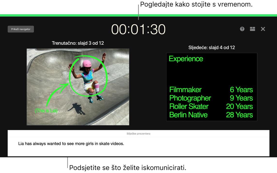 Prozor aplikacije Keynote prikazuje značajku Isprobaj slideshow.