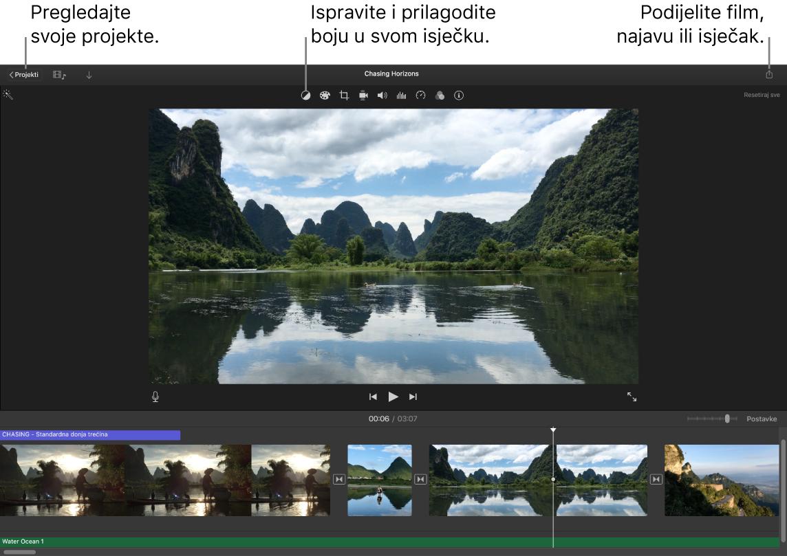 Prozor iMovie prikazuje tipke za prikaz projekata, ispravljanje i podešavanje boje i dijeljenje vašeg filma, najave ili isječka filma.
