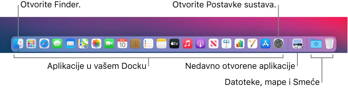 Dock s prikazanim Finderom, Postavkama sustava i linijom u Docku koja odvaja aplikacije od datoteka i mapa.