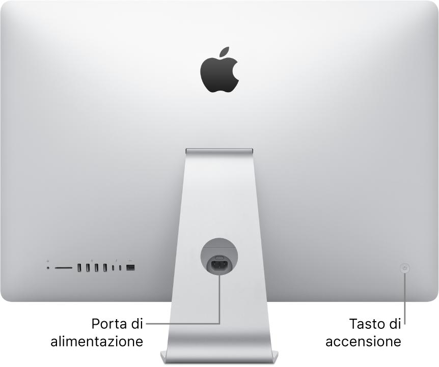 Retro di iMac con il cavo di alimentazione e il tasto di alimentazione.
