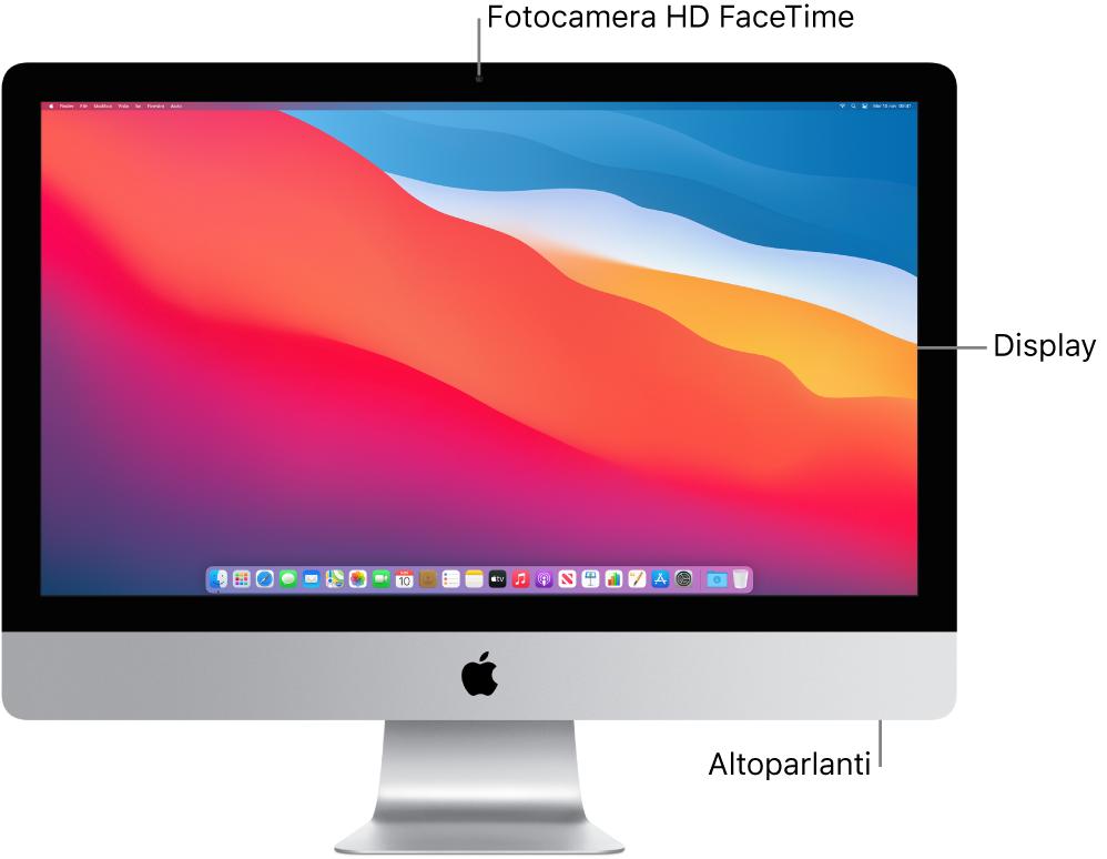 Vista frontale di iMac che mostra il monitor, la fotocamera e gli altoparlanti.
