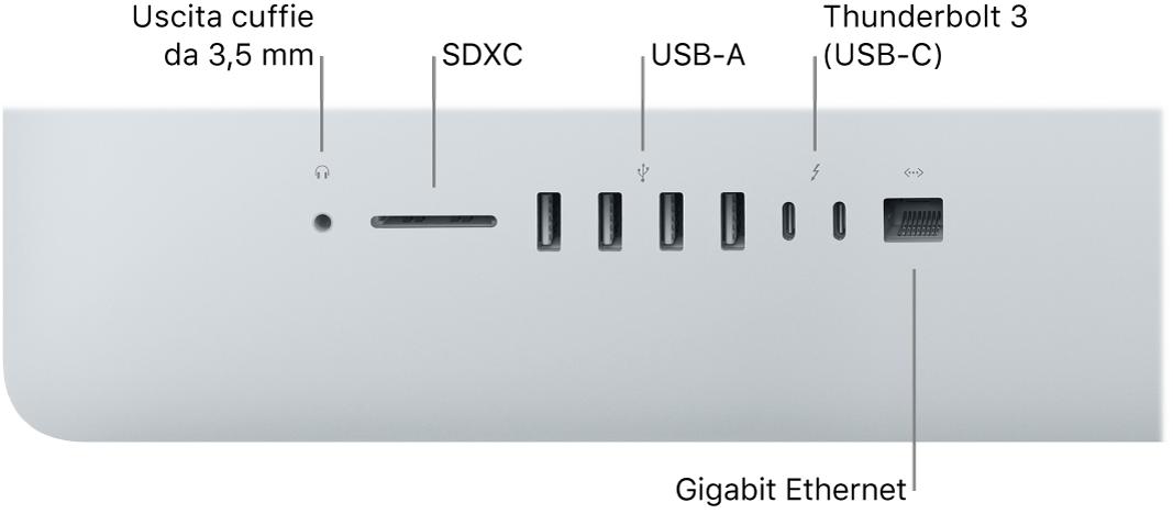 iMac con il jack per le cuffie da 3,5mm, lo slot SDXC, le porte USBA, le porte Thunderbolt3 (USB‑C) e la porta Gigabit Ethernet.