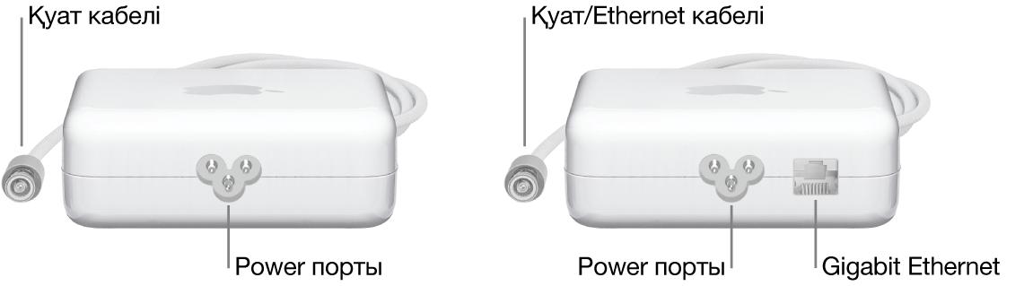 Ethernet порты жоқ бір қуат адаптері және Ethernet порты бар бір қуат адаптері.