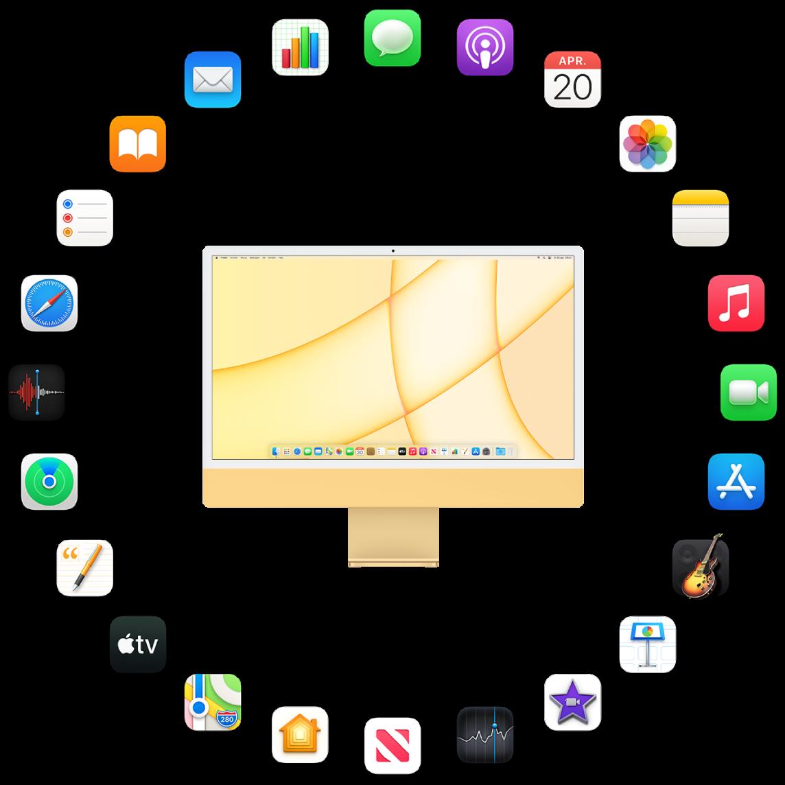 Een iMac omringd door de symbolen voor de apps die standaard worden meegeleverd en die hierna worden beschreven.