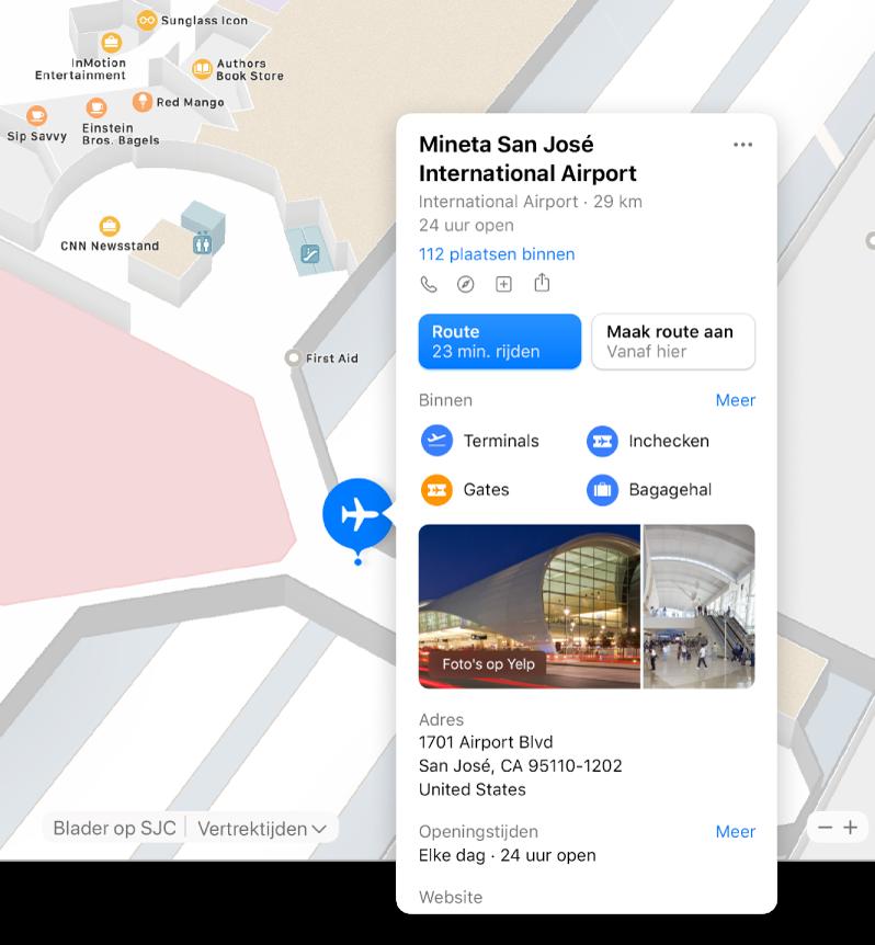 Een plattegrond van een luchthaven, met informatie over de luchthaven, zoals routes, restaurants en winkels.