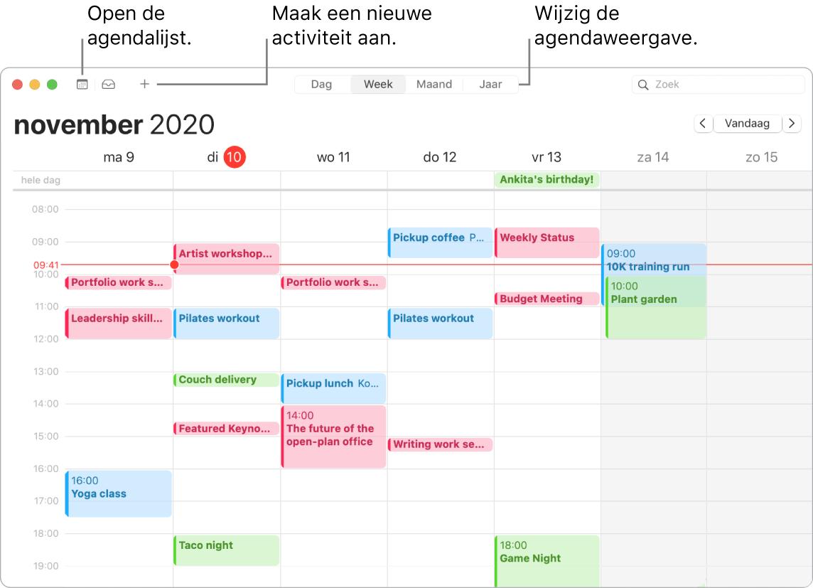 Een Agenda-venster waarin wordt aangegeven hoe je een activiteit aanmaakt, de agendalijst weergeeft en de dag-, week-, maand- of jaarweergave kiest.