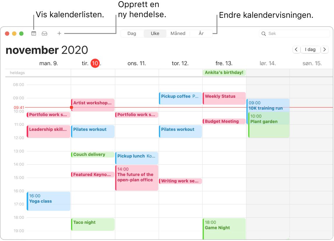 Et Kalender-vindu som viser hvordan du oppretter en hendelse, viser kalenderlisten og velger dag-, ukes-, måneds- eller årsvisning.