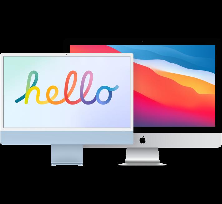 Duas telas de iMac, uma em frente à outra.