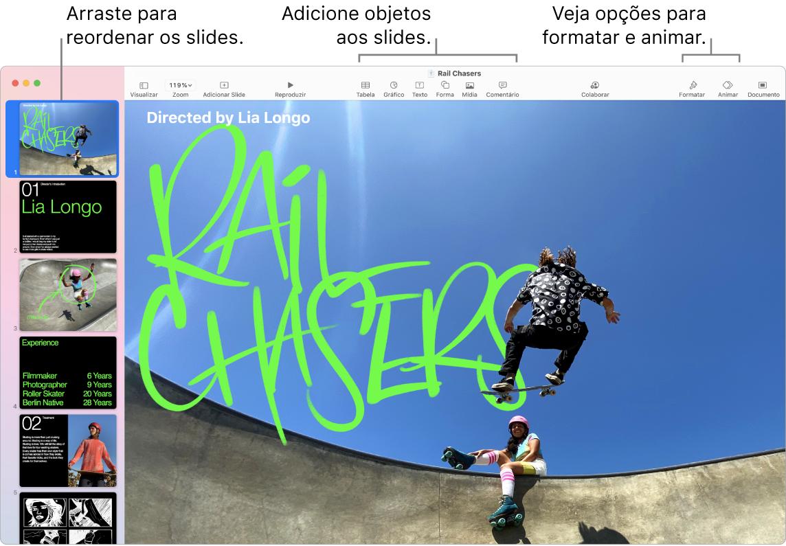 Uma janela do Keynote mostrando o navegador de slides à esquerda e como reordenar slides, a barra de ferramentas e as ferramentas de edição na parte superior, o botão Colaborar próximo à parte superior direita e os botões Formatar, Animar e Documento à direita.