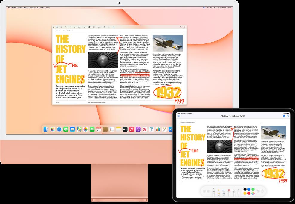 Um iMac e um iPad lado a lado. Ambas as telas mostram um artigo coberto de edições vermelhas rabiscadas, como sentenças riscadas, setas e palavras adicionadas. O iPad também tem controles de marcação na parte inferior da tela.
