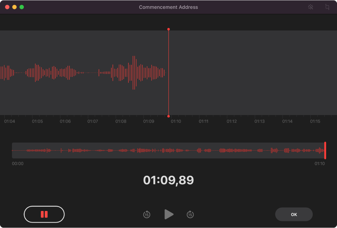 Uma janela do Gravador mostrando uma gravação em progresso.