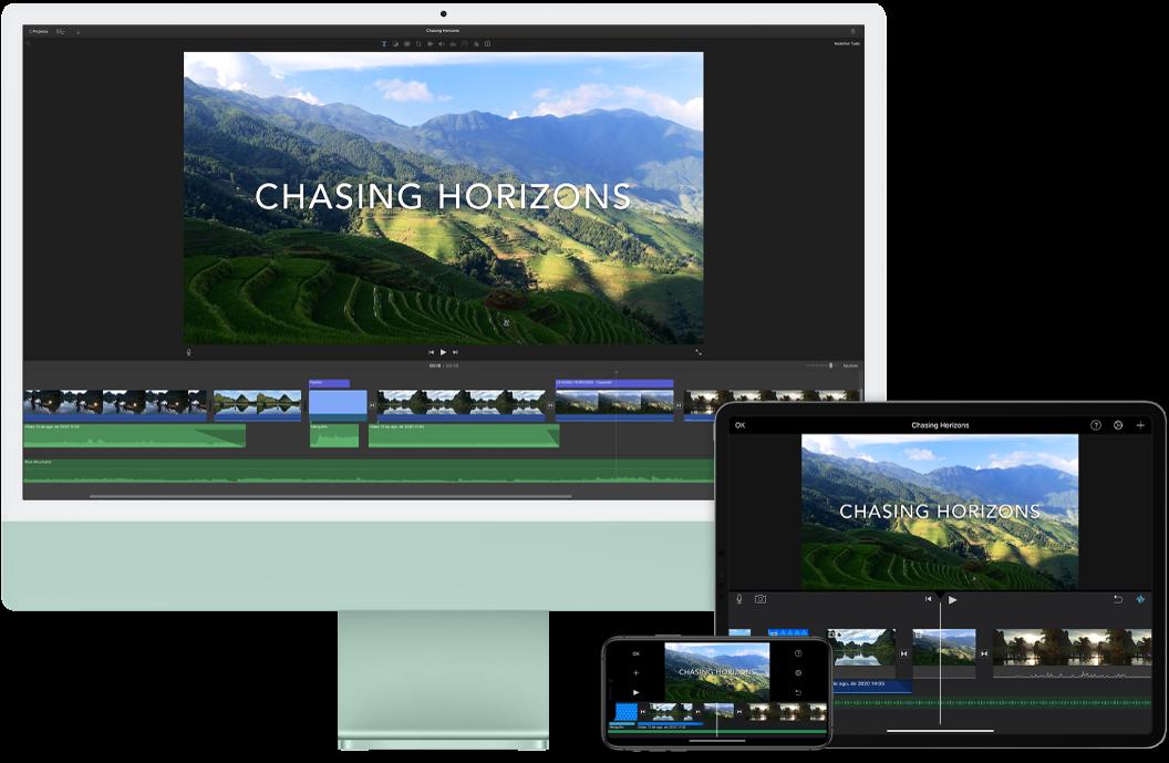 Conteúdo idêntico mostrado em um iMac, iPad e iPhone.