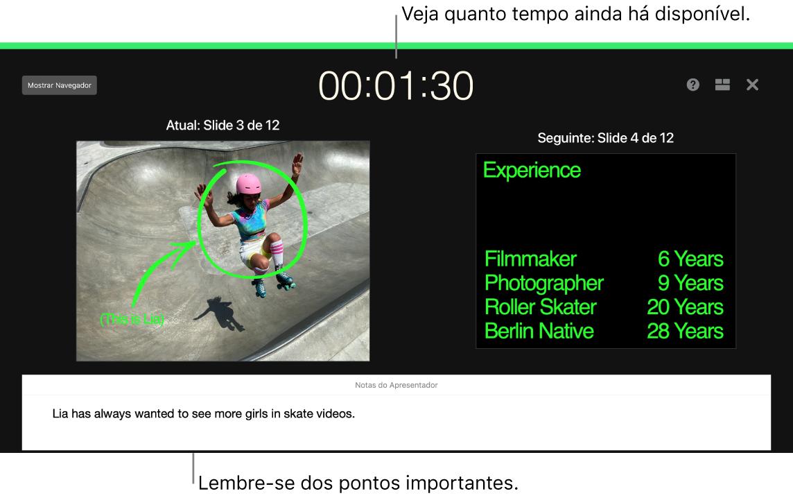 Janela do Keynote mostrando o recurso Ensaiar Apresentação de Slides.