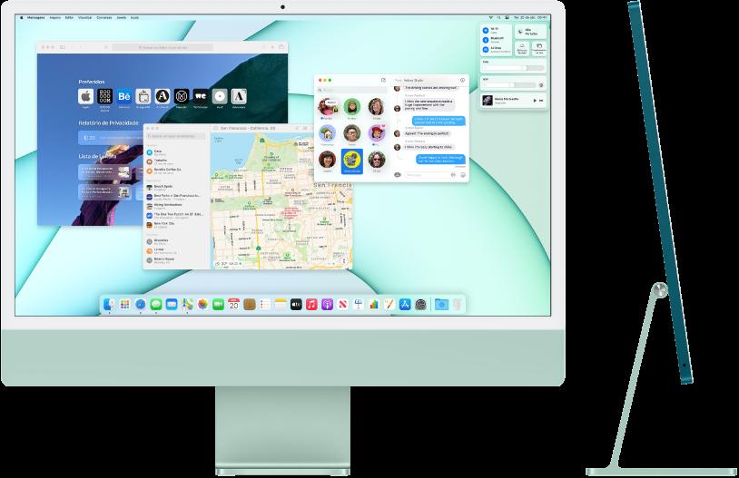 Vistas frontal e lateral do iMac de 24 polegadas.