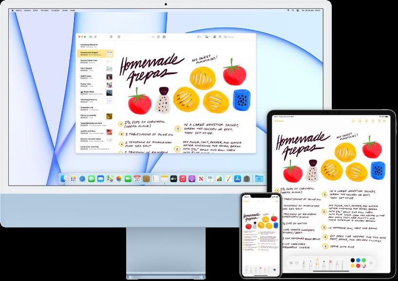 Uma lista de compras no app Notas mostrada no iMac, iPhone e iPad.