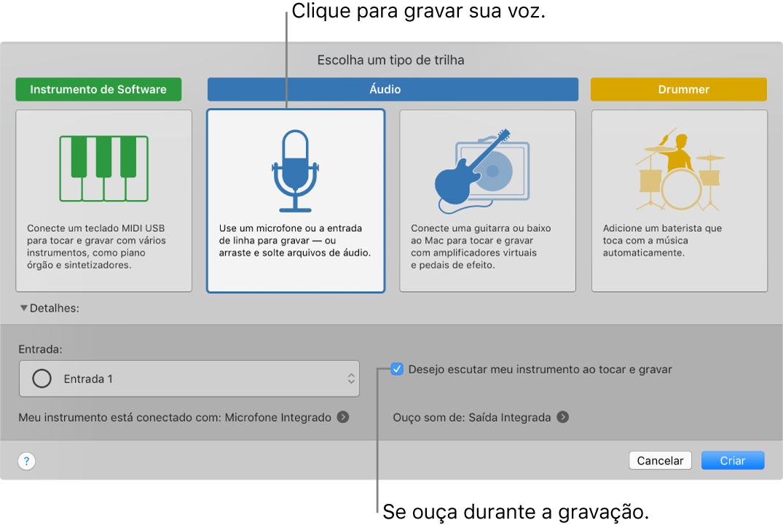 Painel de instrumentos do GarageBand mostrando onde clicar para gravar voz e como se ouvir ao gravar.