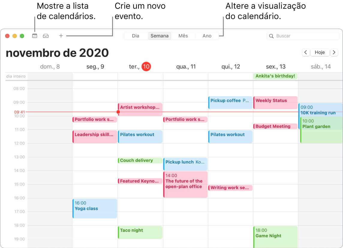 Uma janela do Calendário mostrando como criar um evento, mostrar a lista de calendários e escolher a visualização por Dia, Semana, Mês ou Ano.