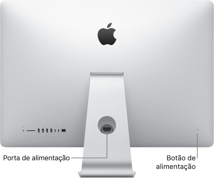 Vista traseira do iMac a mostrar o cabo de alimentação e o botão de alimentação.