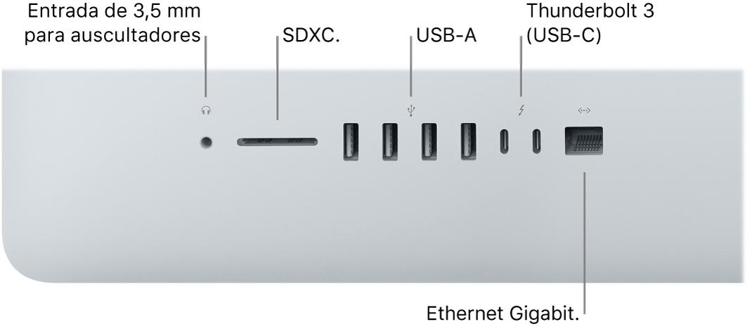 Um iMac, a mostrar a entrada de 3,5mm para auscultadores, a ranhura para cartões SDXC, as portas USB-A, as portas Thunderbolt3 (USB-C) e a porta Gigabit Ethernet.