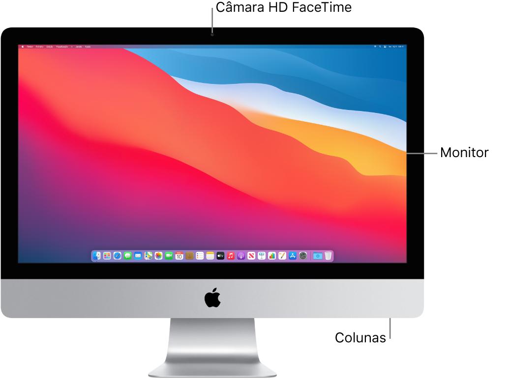 Vista frontal do iMac a mostrar o ecrã, câmara e colunas.