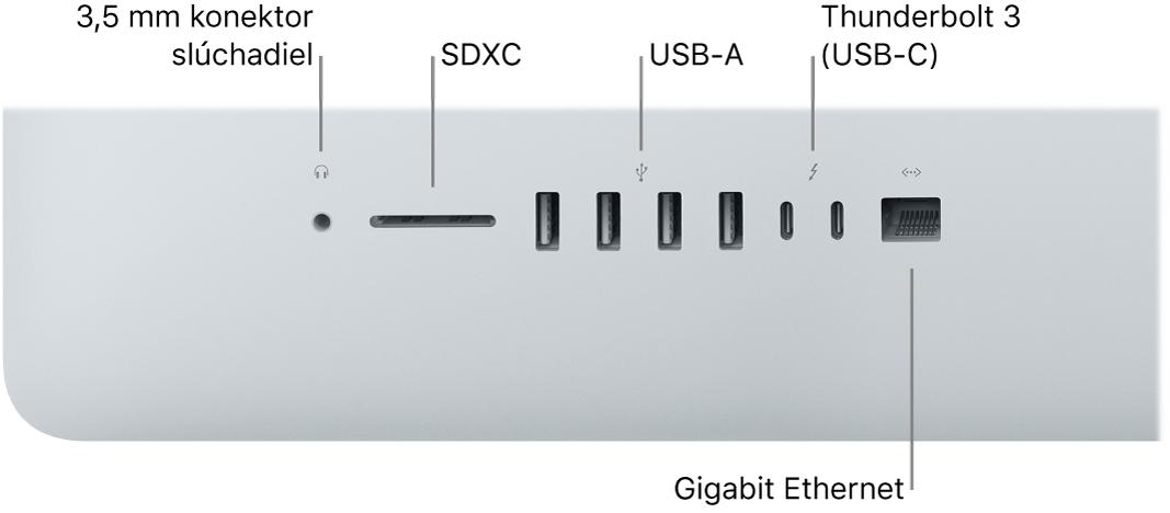 Obrázok iMacu, na ktorom je vidno 3,5 mm konektor slúchadiel, slot na SDXC karty, porty USBA, Thunderbolt3 (USB-C) aport Gigabit Ethernet.