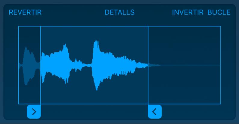 Arrossega els redimensionadors blaus per escurçar l'inici o el final de la mostra.