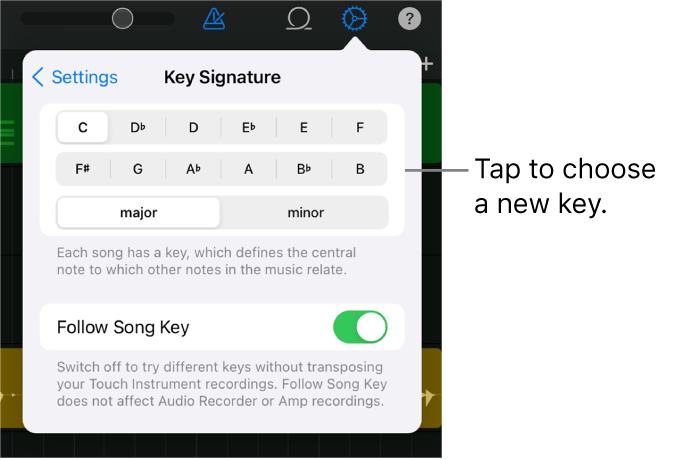 Song settings, including key controls