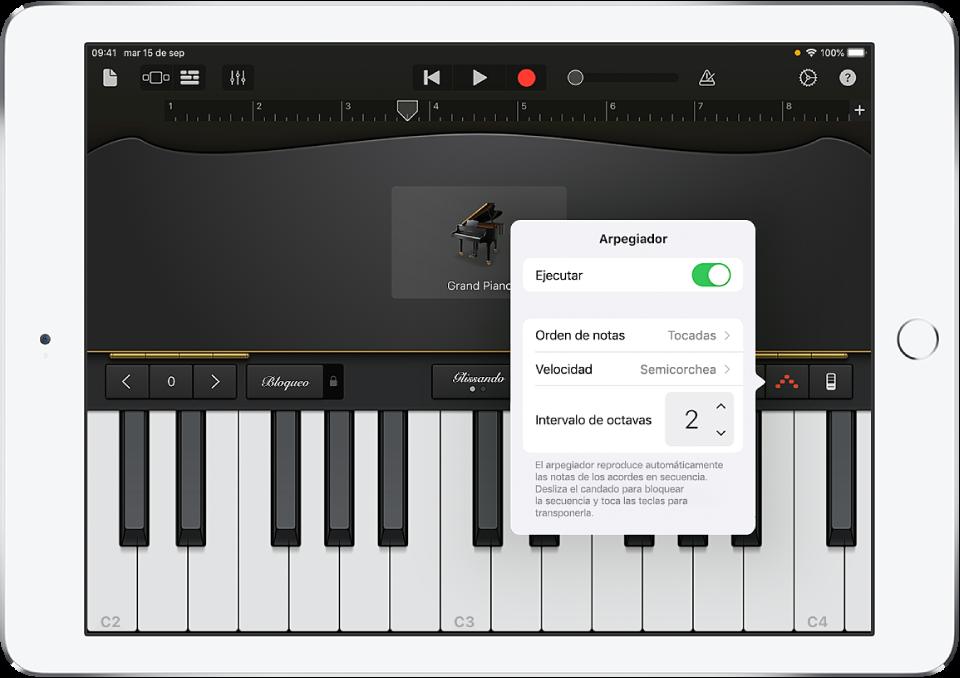Controles del arpegiador del teclado