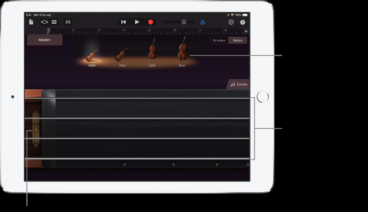 Visualización de notas en el instrumento táctil Cuerdas
