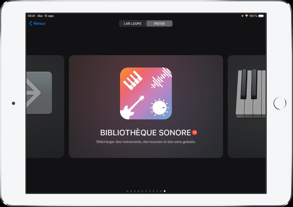 Bibliothèque sonore dans le navigateur de sons