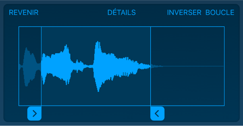 Faites glisser les poignées bleues afin d'élaguer le début ou la fin du sample.