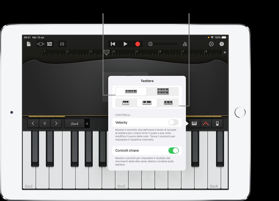 Layout tastiera e controlli di dimensione