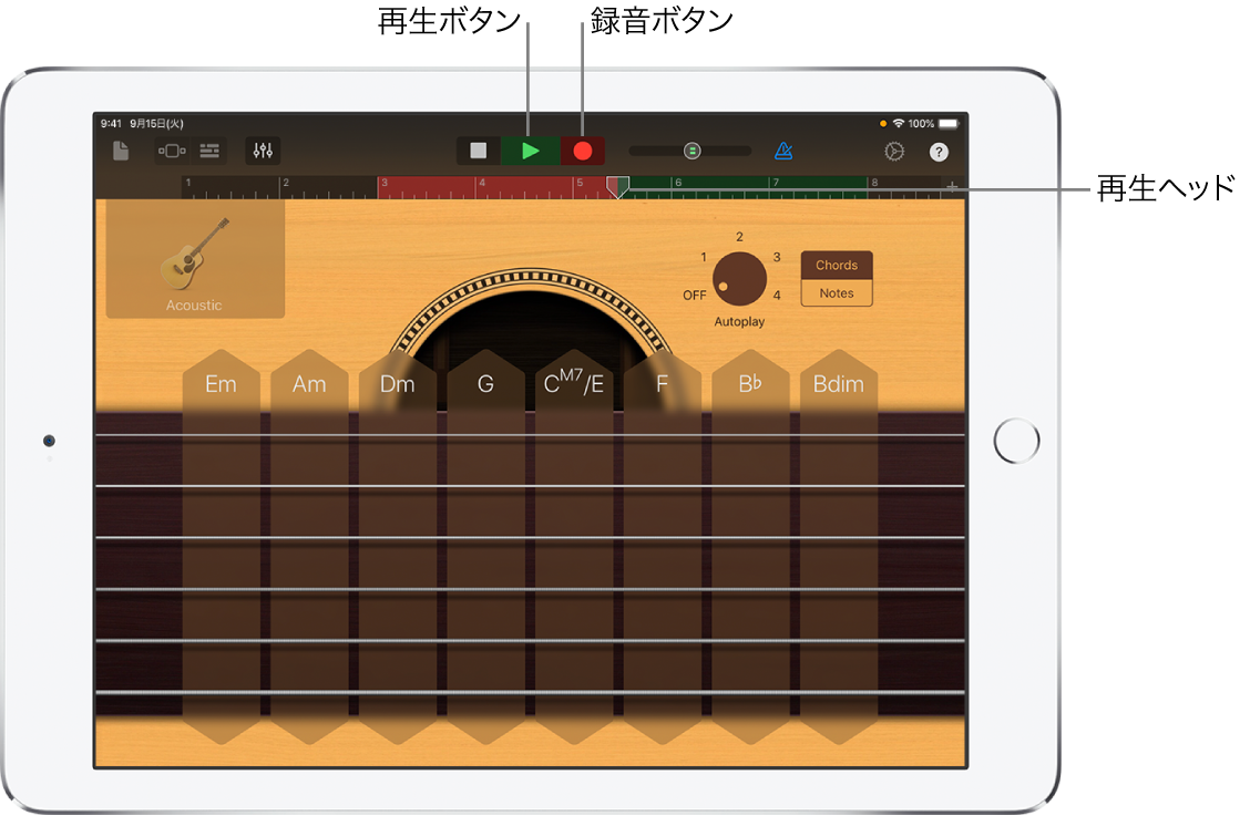 録音ボタンとルーラ。録音されたリージョンが表示されています