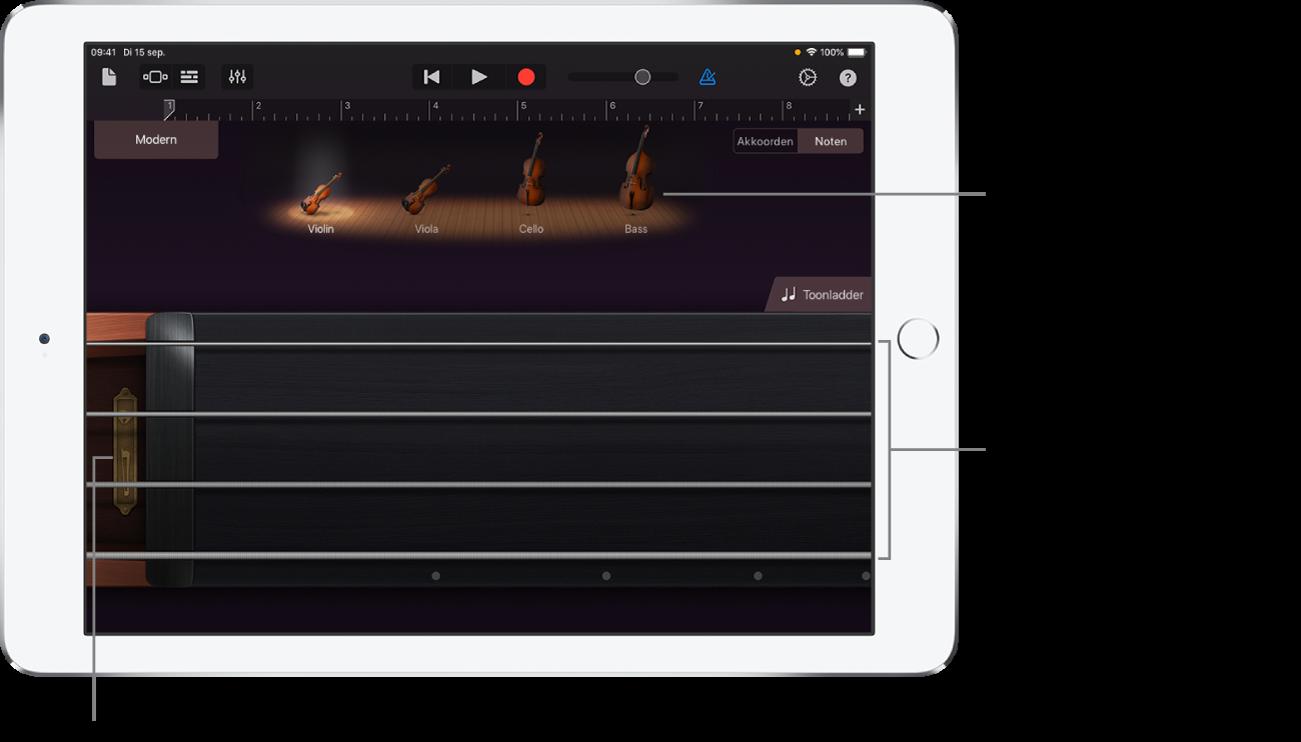 Notenweergave op het Touch-instrument Snaarinstrumenten