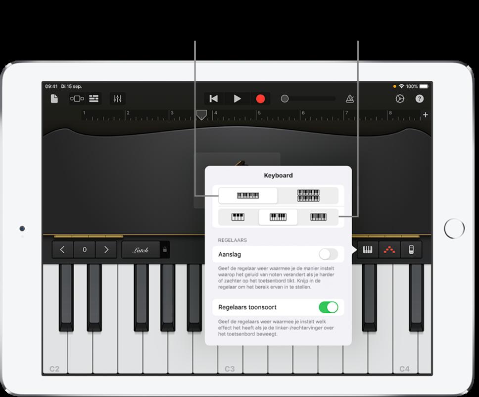 Regelaars voor de indeling en het formaat van het keyboard