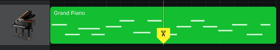 Region ze znacznikiem podziału przeciągniętym wdół