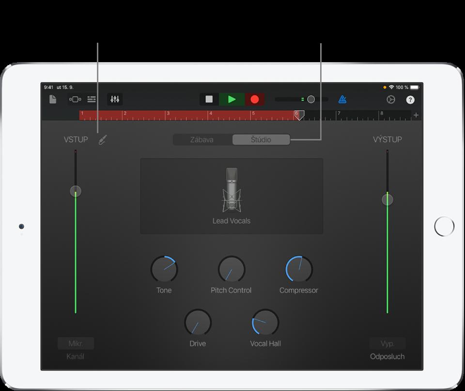 Audiorekordér - zobrazenie Štúdio