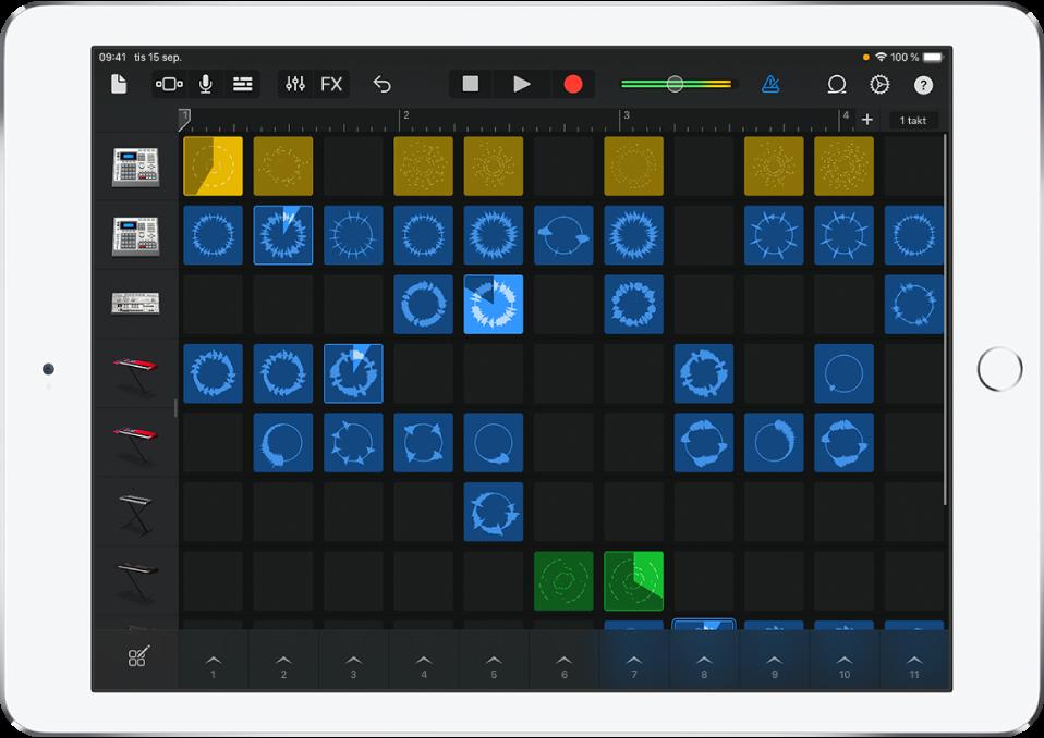 Bild. Live Loops-rutnät med celler som spelas upp.