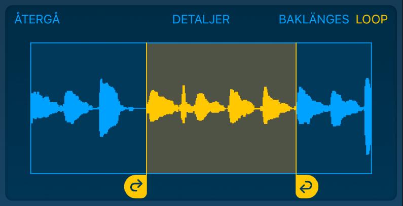 Ljudet mellan de vänstra och högra loophandtagen loopas.