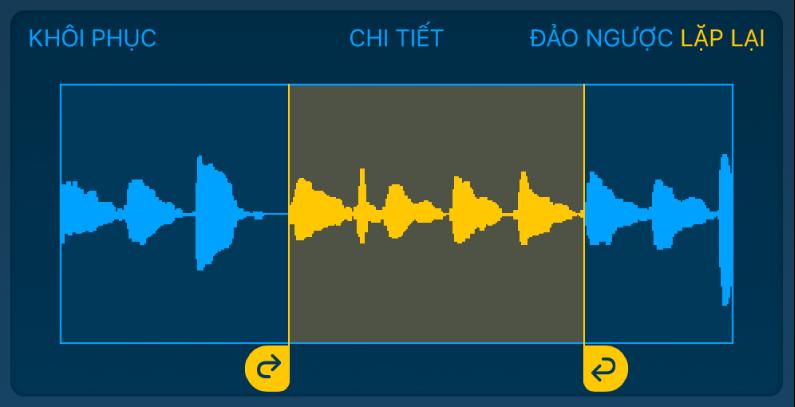 Âm thanh giữa các điều khiển vòng lặp bên trái và bên phải được lặp lại.