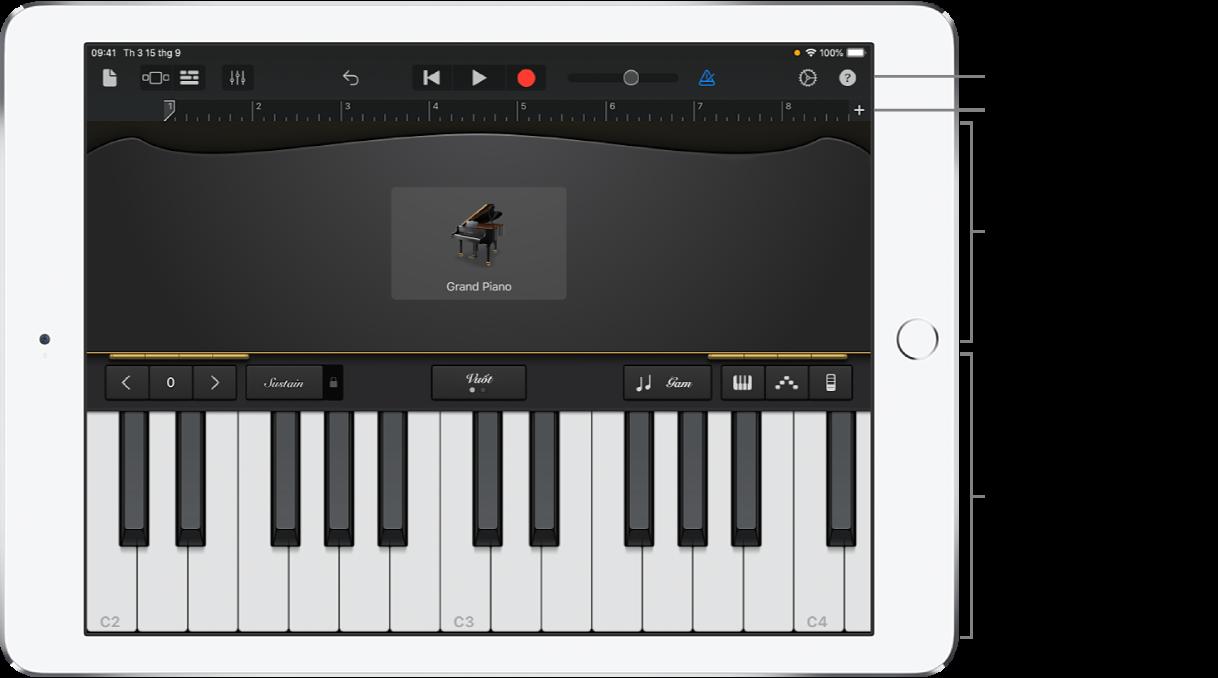 Nhạc cụ cảm ứng hiển thị các khu vực chơi và điều khiển