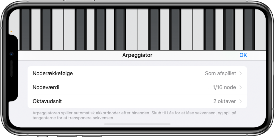 Keyboard-betjeningsmuligheder til arpeggiatorfunktion