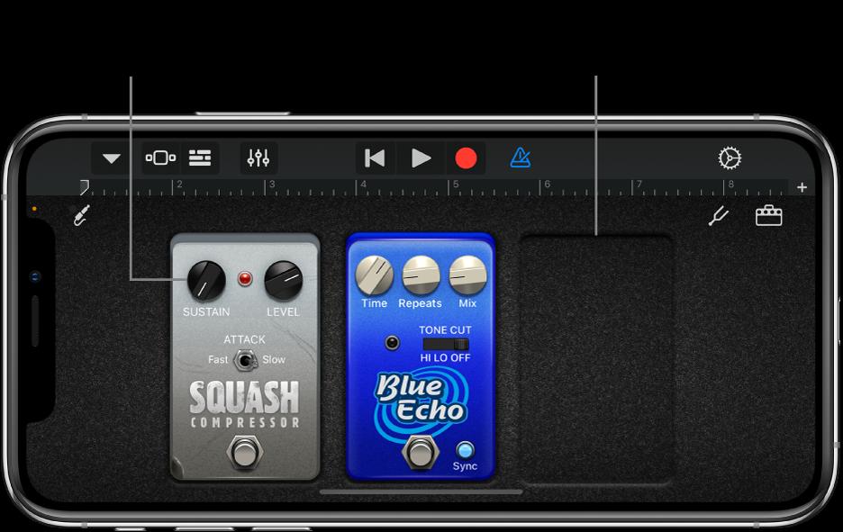 Redigeringsområde til effektpedal til guitarforstærker