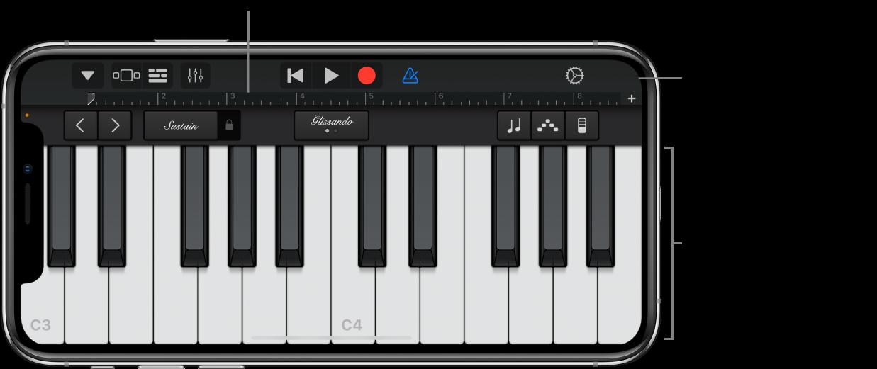 Touch-Instrument mit Spielbereich