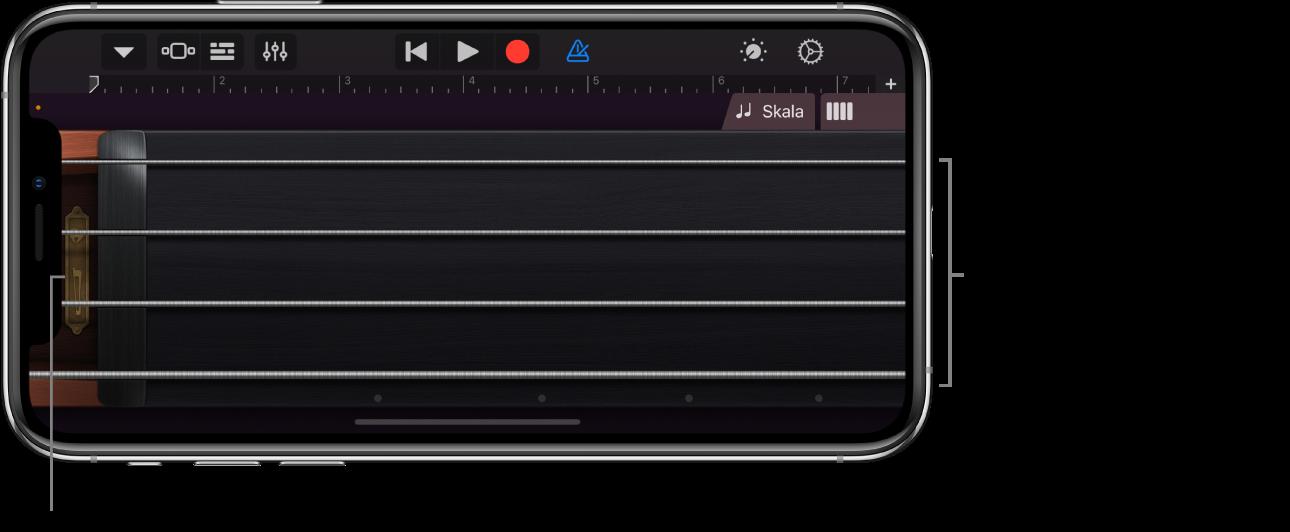 """Notenansicht auf dem Touch-Instrument """"Strings"""