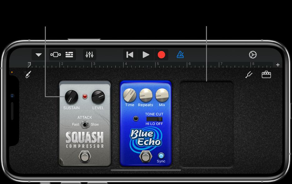 Guitar Amp stompbox editing area