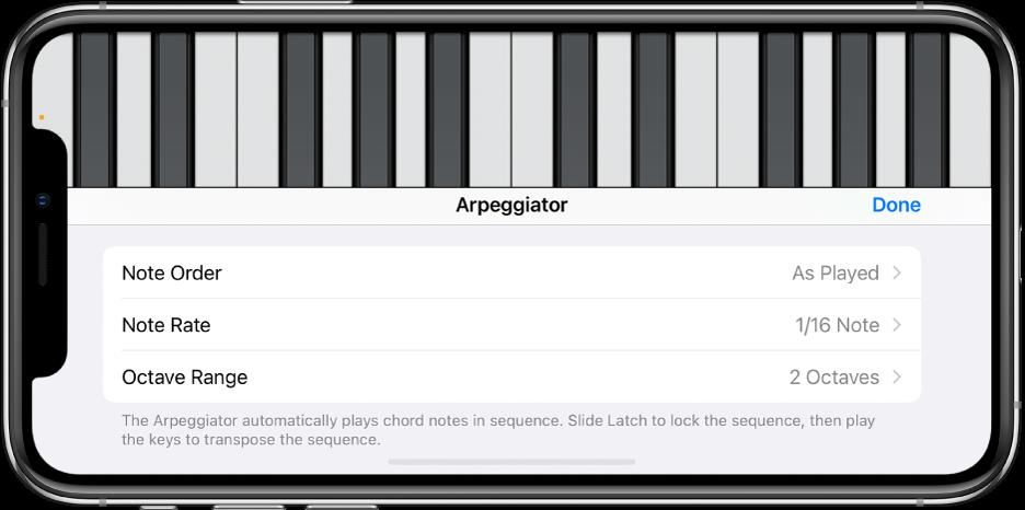 Keyboard Arpeggiator controls