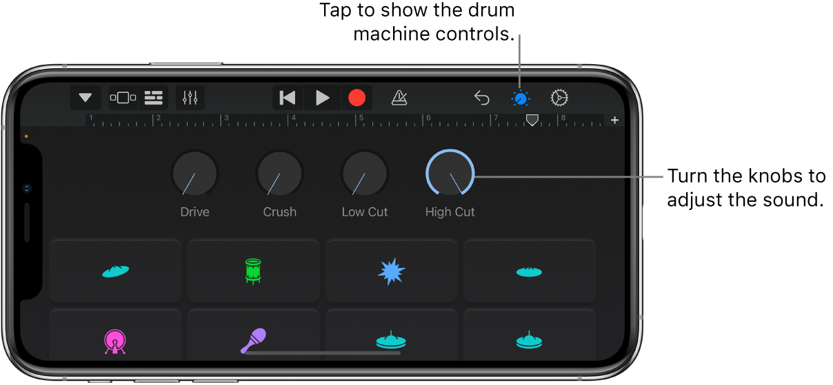 Electronic drum kit controls