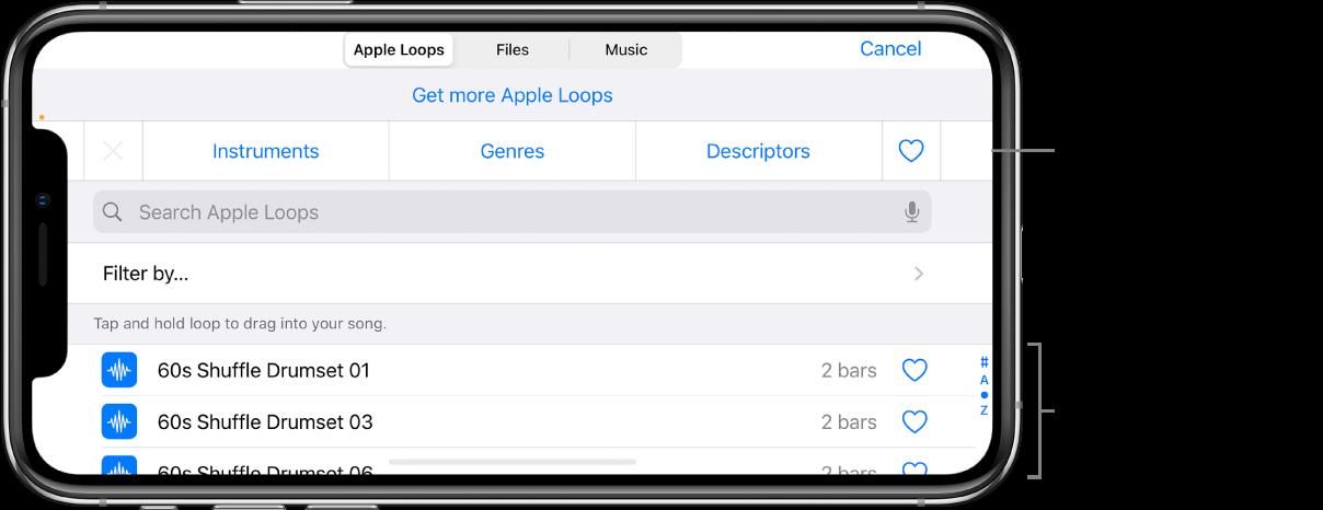 Loop Browser results list