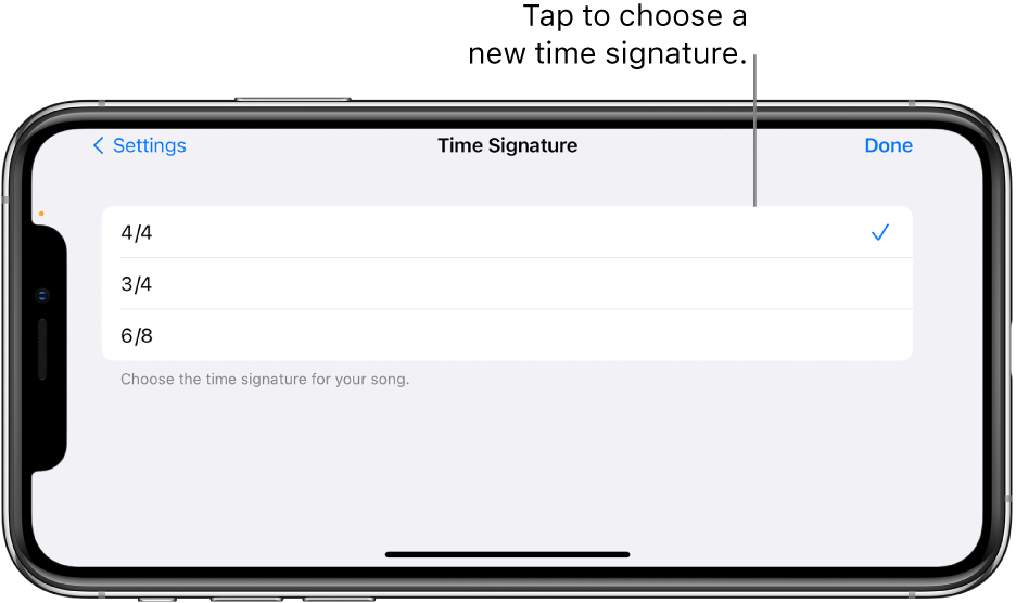 Time signature controls in Song settings